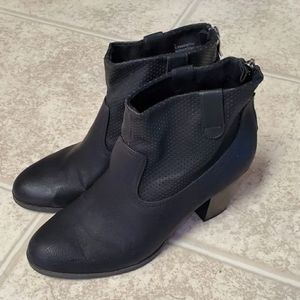 Sam & Libby Black Faux Leather Booties